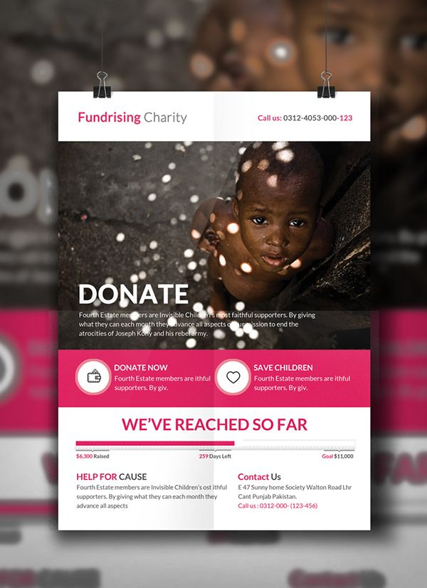 charity donation flyer template on behance yetu pinterest