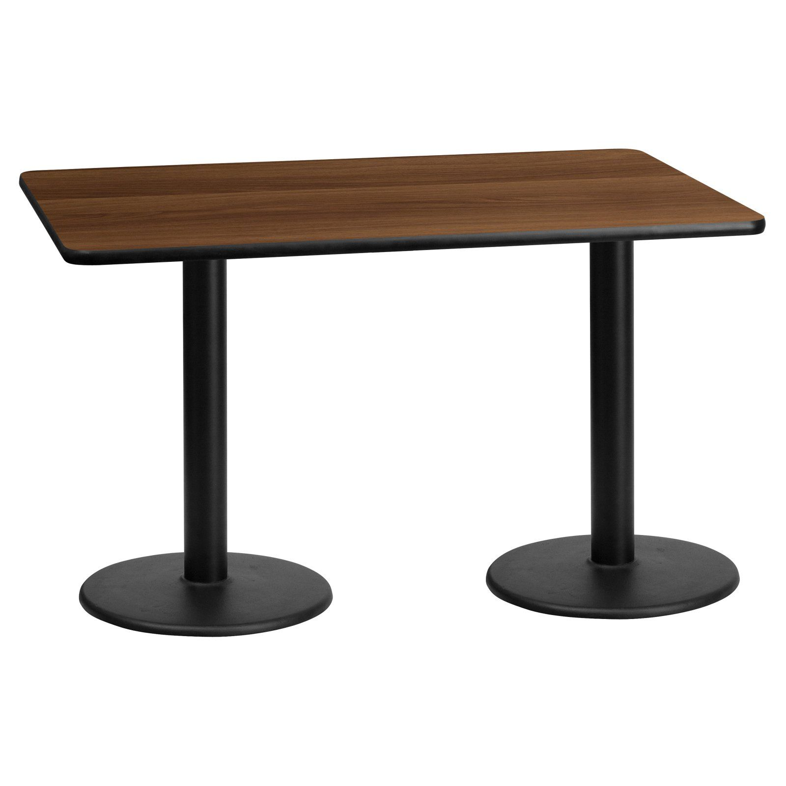 Flash Furniture 30 X 60 In Rectangular Laminate Dining Table With Dual Round Bases Laminate Table Top Dining Table Table