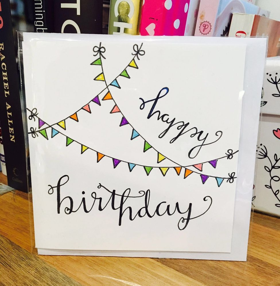 Happy Birthday Card Flag Cute White Design Handmade Drawn Pen