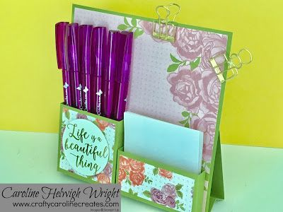 CraftyCarolineCreates: Desktop Notes Tidy - Video Tutorial with Petal Garden DSP by Stampin' Up