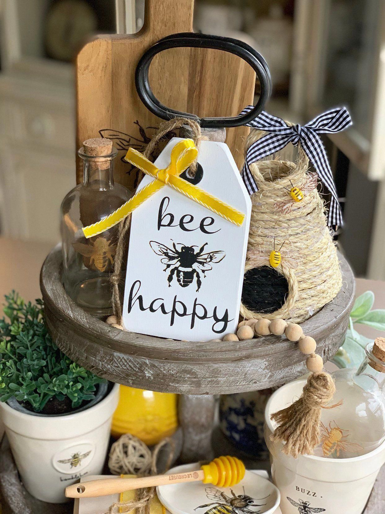 Photo of Bee Happy sign / Tiered tray decor / Tiered tray signs / Wood tag / Bee decor / Honey Bee Wooden tag sign / Farmhouse decor