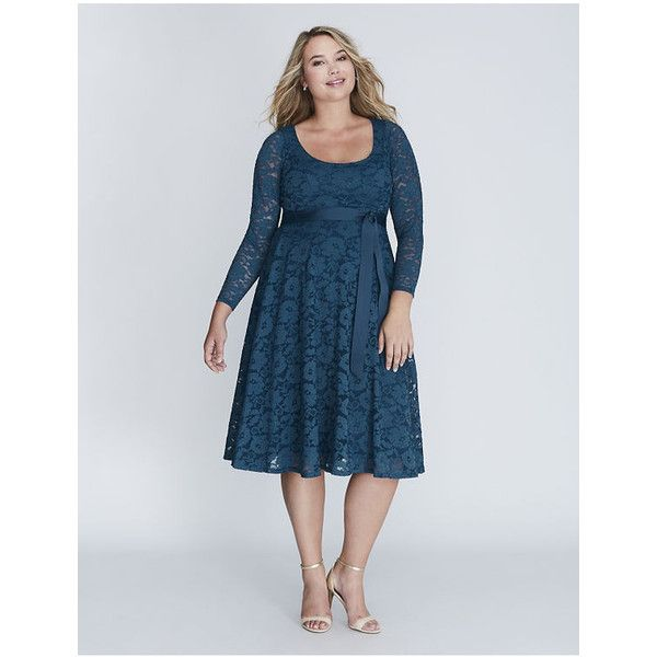 Lane Bryant Plus Size Lace Fit & Flare Dress ($90) ❤ liked on ...