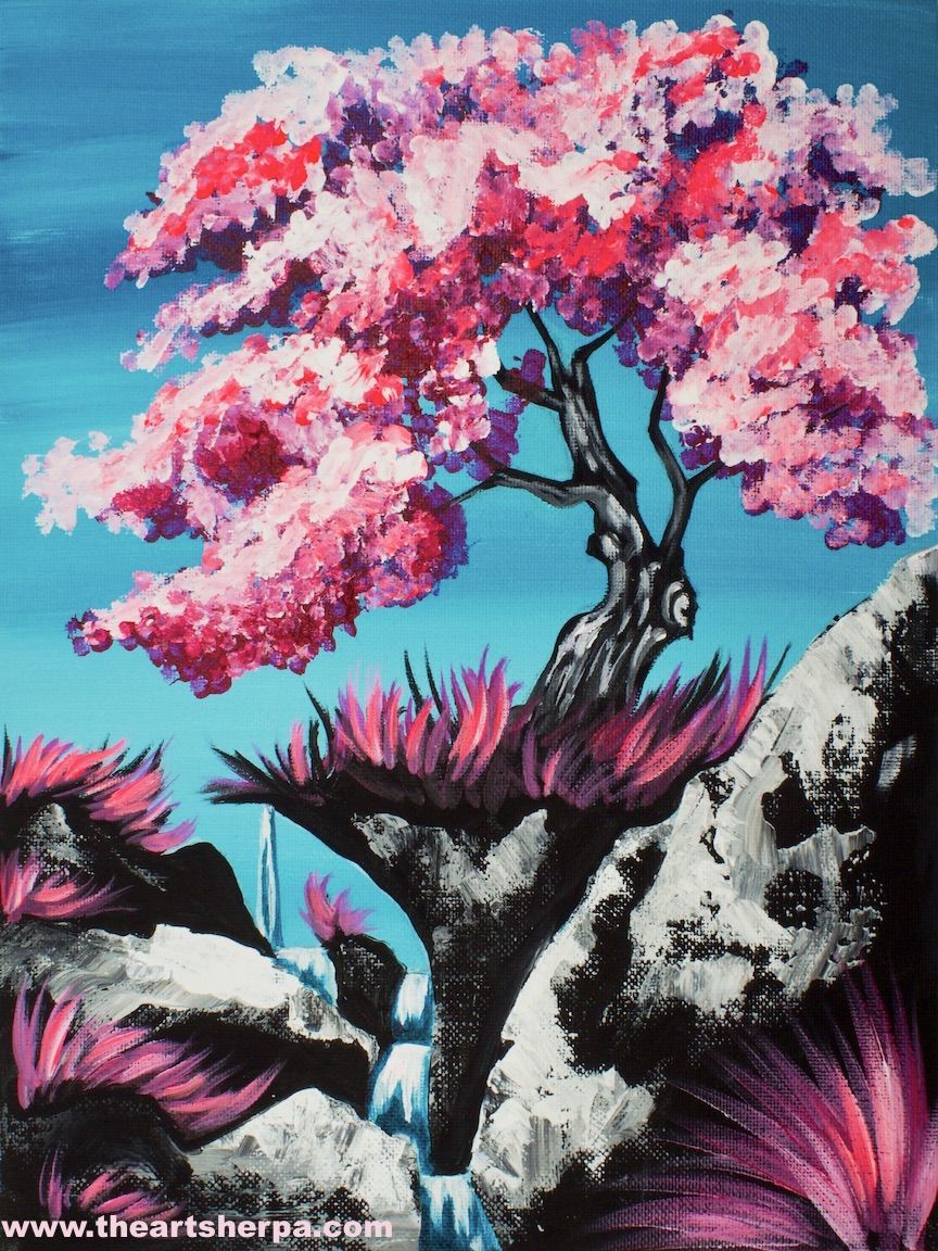 16 EASY Acrylic paintings you can do with cotton Swabs. Q-tips How to paint  a pink Cherry Tree with waterfall Landscape Easy Beginner Acrylic painting  By ...