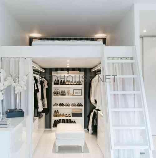 Lit mezzanine et dressing   Small loft bedroom, Small room ...