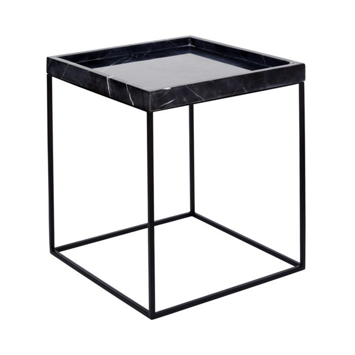 Black Marble Tray Table Black Steel Base Black Side Table