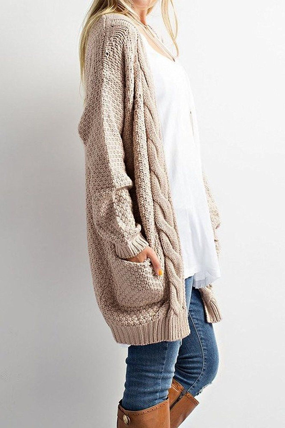Winter Outfits Warm | Cable knit sweater cardigan, Fashion