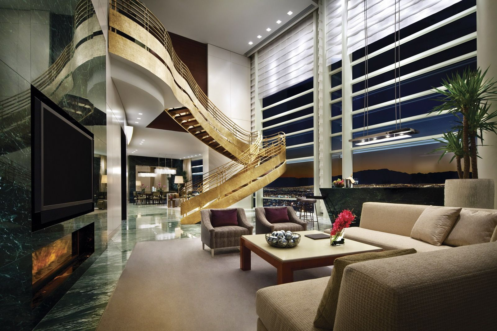 Las Vegas Hotels Suites 3 Bedroom Sky Villa At Aria Resort Casino 2 Story 3 Bedroom Villa With