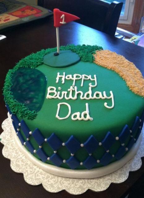 Golf theme birthday cake for dadJPG Tartas espectaculares