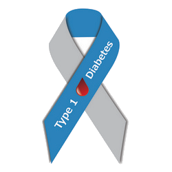 Type 1 Diabetes Awareness Ribbon Blue And Grey With Drop Of Blood