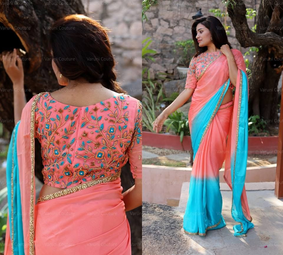 1d2e6920f06976 Plain saree with embroidery blouse. Style Plain Saree with Embroidery Blouse  – 17 Chic Ideas!