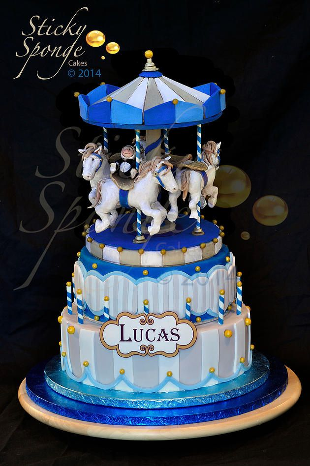 Cake Decorating Carousel : Carousel Cake Babyshower Boy blue and gray Pinterest ...