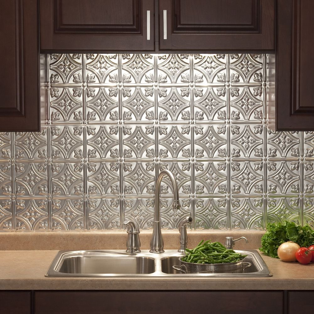 The 18 inch by 24 inch backsplash panels are easy to install and fasade traditional style brushed aluminum x backsplash panel traditional 1 brushed aluminum backsplash panel silver doublecrazyfo Image collections