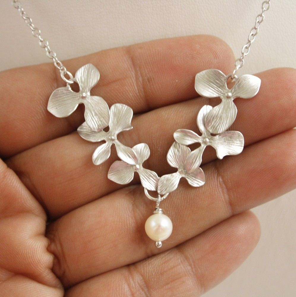 Silver Orchid Necklace Freshwater Pearl Bridal Necklace