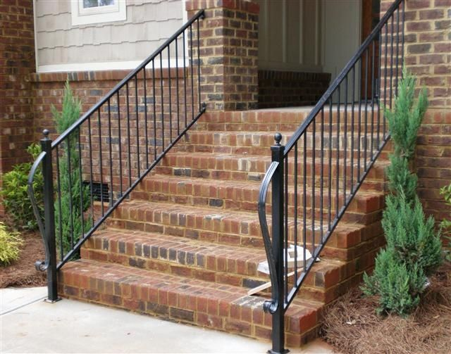 Products I Love Or Want Brick Porch Outdoor Stair Railing   Metal Outdoor Handrails For Stairs   Front Porch   Hand Rail   Concrete Steps   Stainless Steel   Wrought Iron Handrails