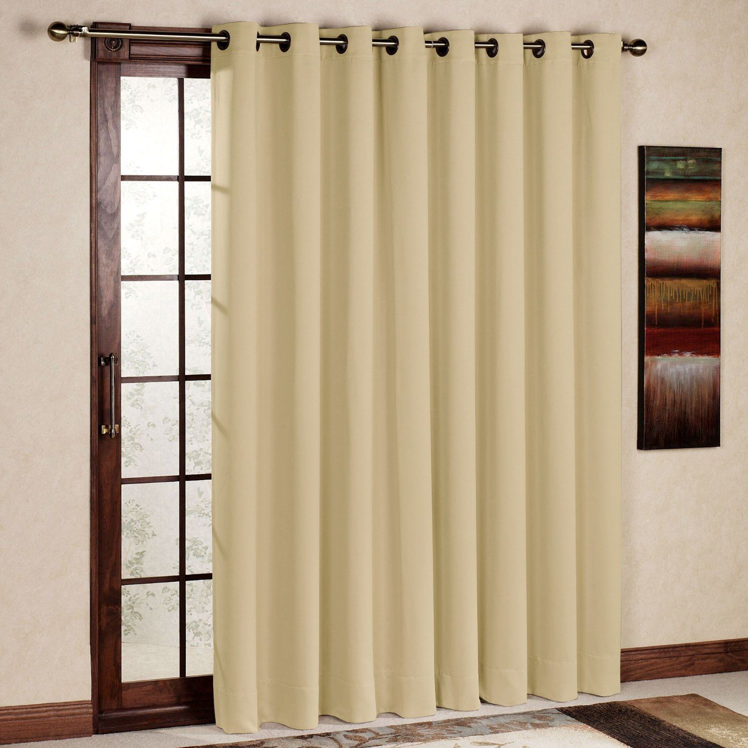 High Quality RHF Wide Thermal Blackout Patio Door Curtain Panel, Sliding Door Insulated  Curtains,Extra Wide By Inches Beige   Home Decor