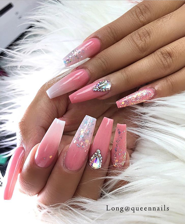pink coffin nails rhinestone, bling coffin nails, coffin