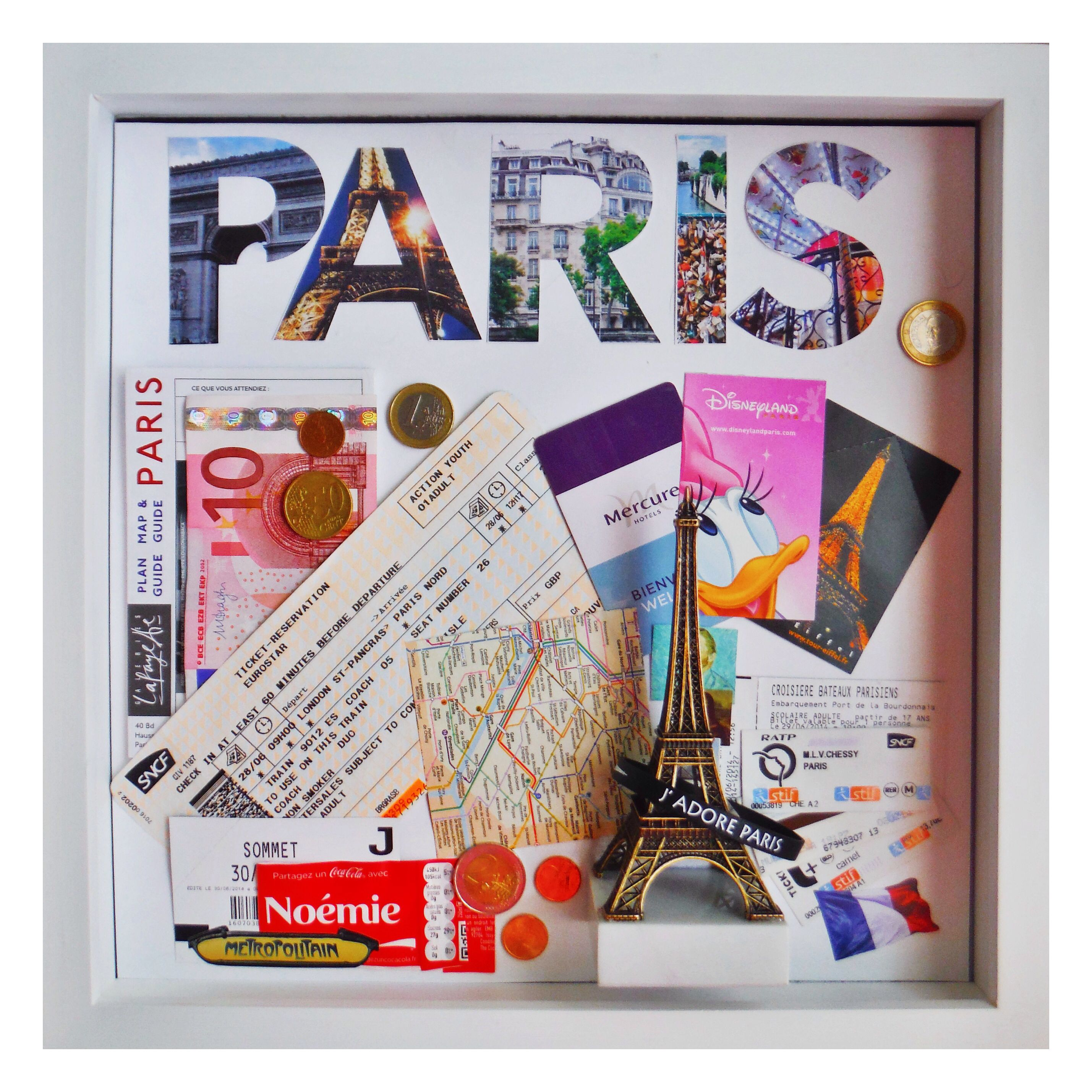 DIY travel memento shadowbox. Display ticket stubs, maps, currency, and other precious items from your travels.