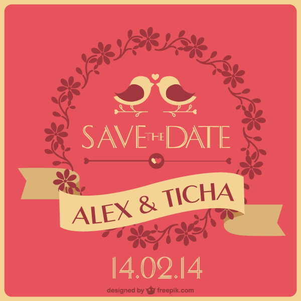 Save The Date Wedding Card Template Vector Free Vectors
