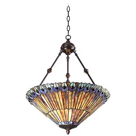 Peacock glass 3 light 20 wide tiffany style pendant light mozeypictures Gallery