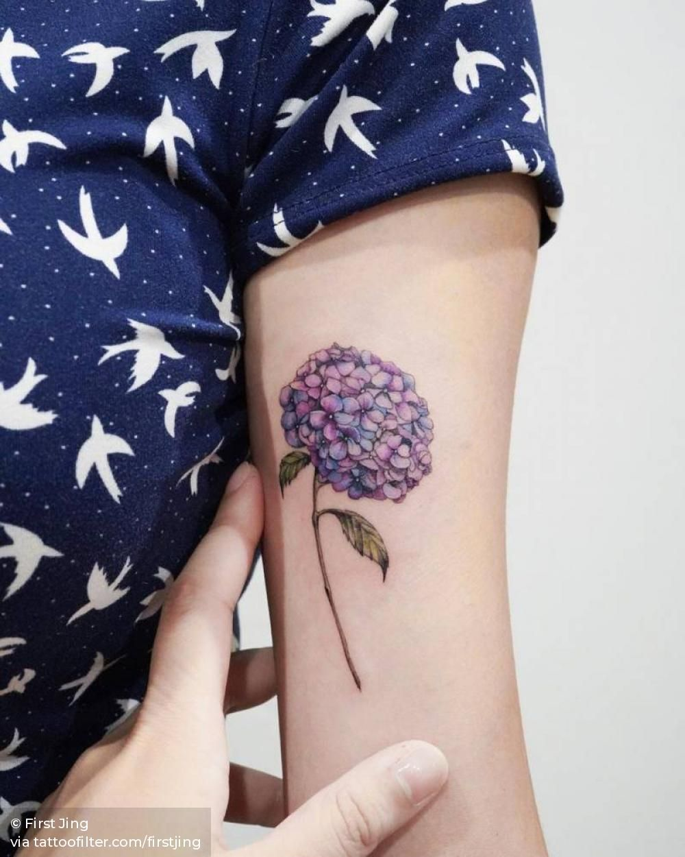 The Hydrangea Flower Is For Grandma Because Her Spanish Name Hortensia Means Hydrangea In 2020 Hydrangea Tattoo Tattoos Purple Tattoos