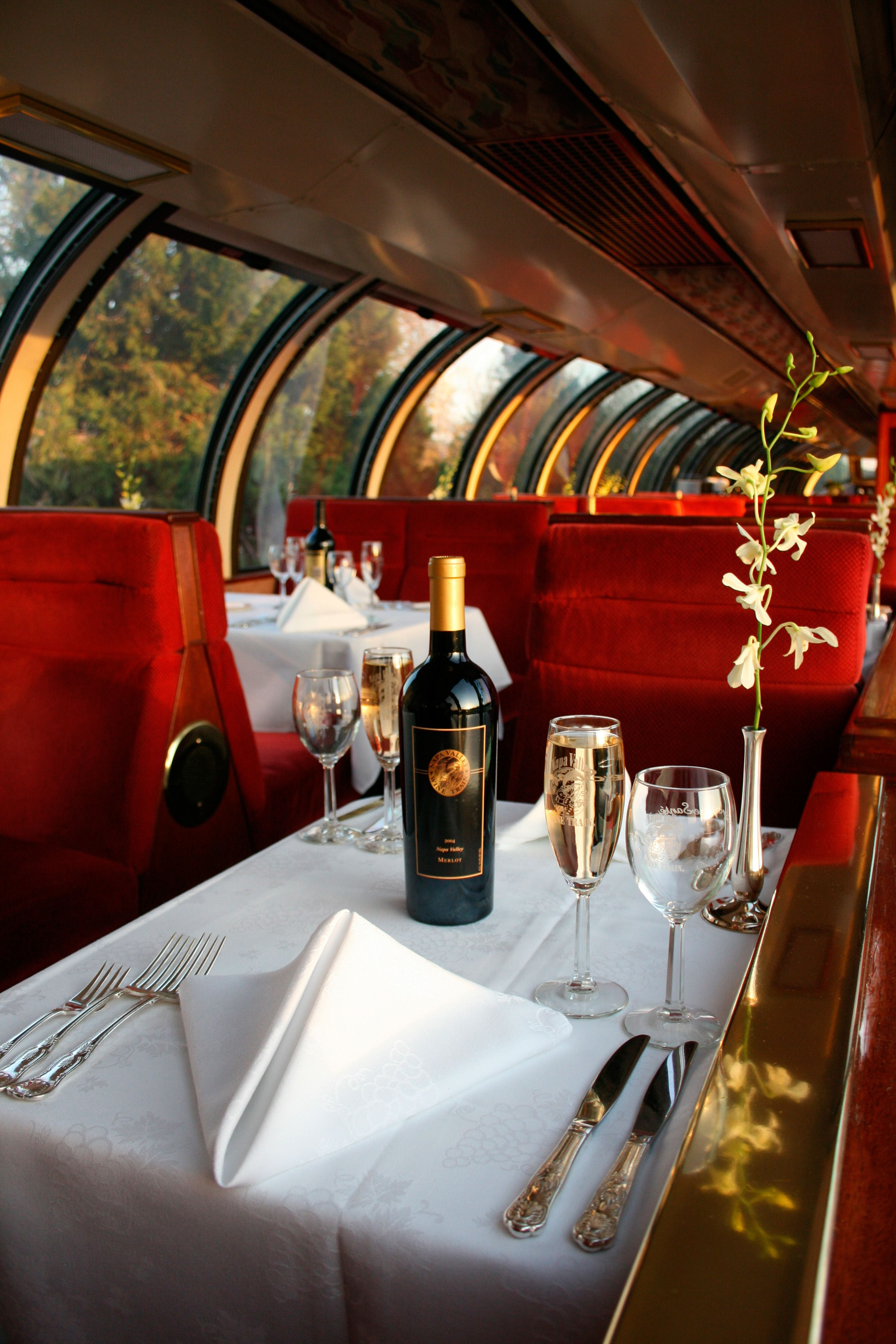 Our 1952 Pullman Domed Rail Car Provides Our Most Private Dining Experience The Vista Dome Car Is An Elevat Wine Train Napa Valley Wine Train Napa Valley Wine