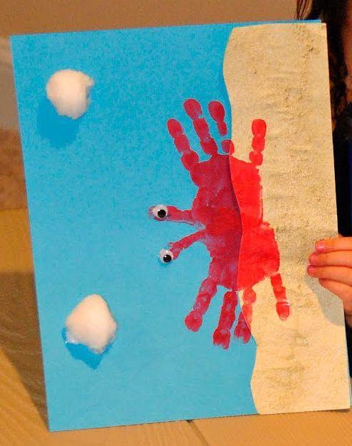 Beach Craft Ideas For Kids Part - 26: Beach Craft For Kids - Crab Hand Print