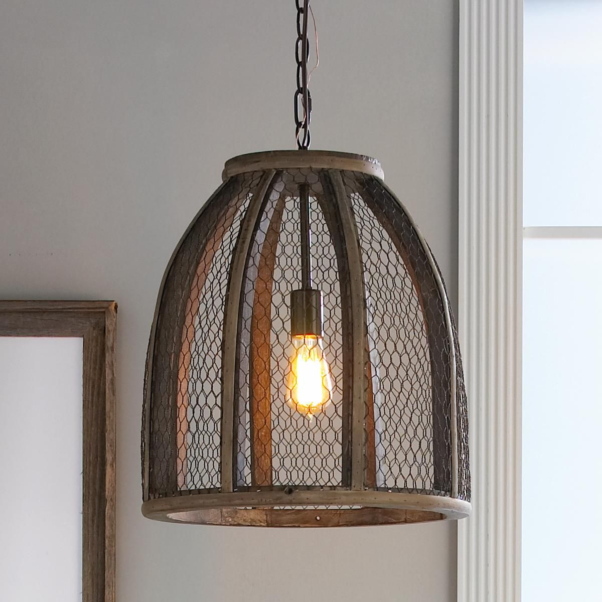 Chicken wire pendant light large chicken wire pendant chicken wire pendant light large aloadofball