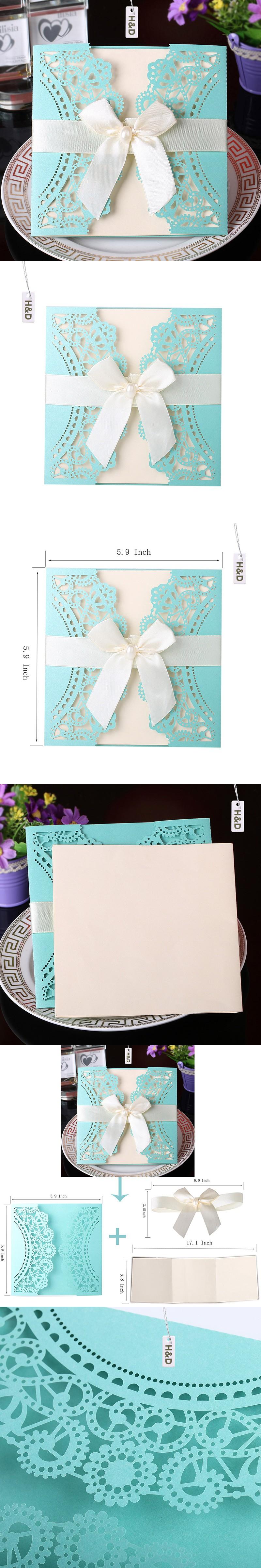 60PC Tiffany Blue Laser Cut Flora Wedding Invitations Card Ivory ...