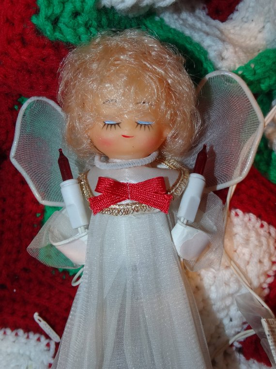 Angel Tree Topper, Lighted Blond Christmas Angel Tree Topper