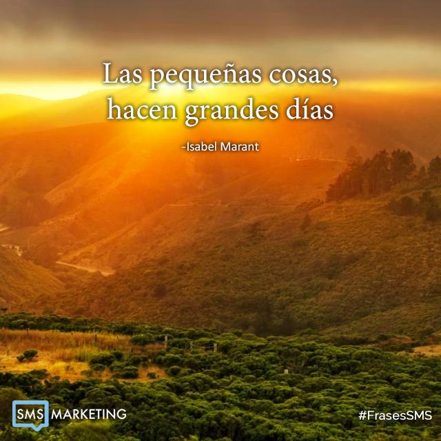 Las pequeñas cosas, hacen grandes dias. - Isabel Marant #FrasesSMS