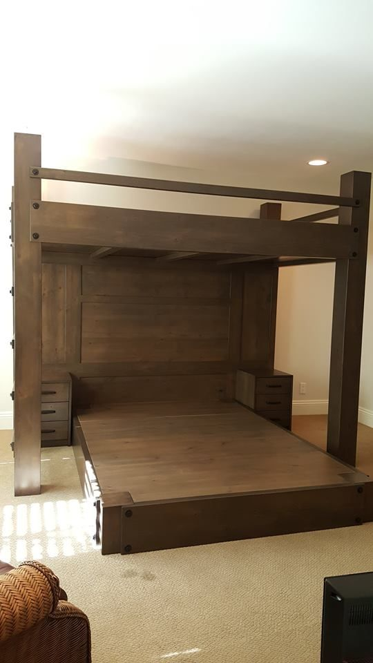 Custom Full Xl Loft Bed Over Queen Platform Bed Features Paneled Back Wall And Integrated Night Stands Made Of Rustic A Queen Loft Beds Platform Bed Designs