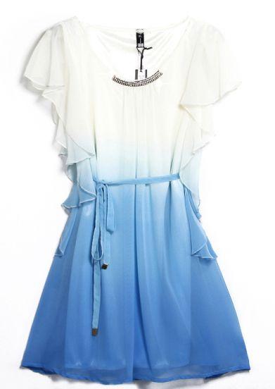Blue Sleeveless Ruffles Drawstring Bead Dress pictures