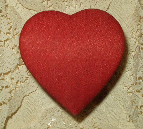 Vintage Valentine Heart Red Satin Japan Cardboard Candy Box