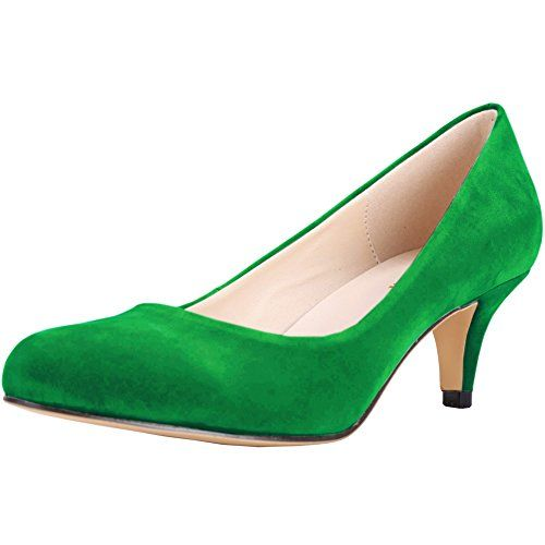 bf8c3c26a79f26 Zbeibei Women s Round-Toe Slender Faux Velvet Leather Mid Heels Work Court  Pumps(3321VE35green