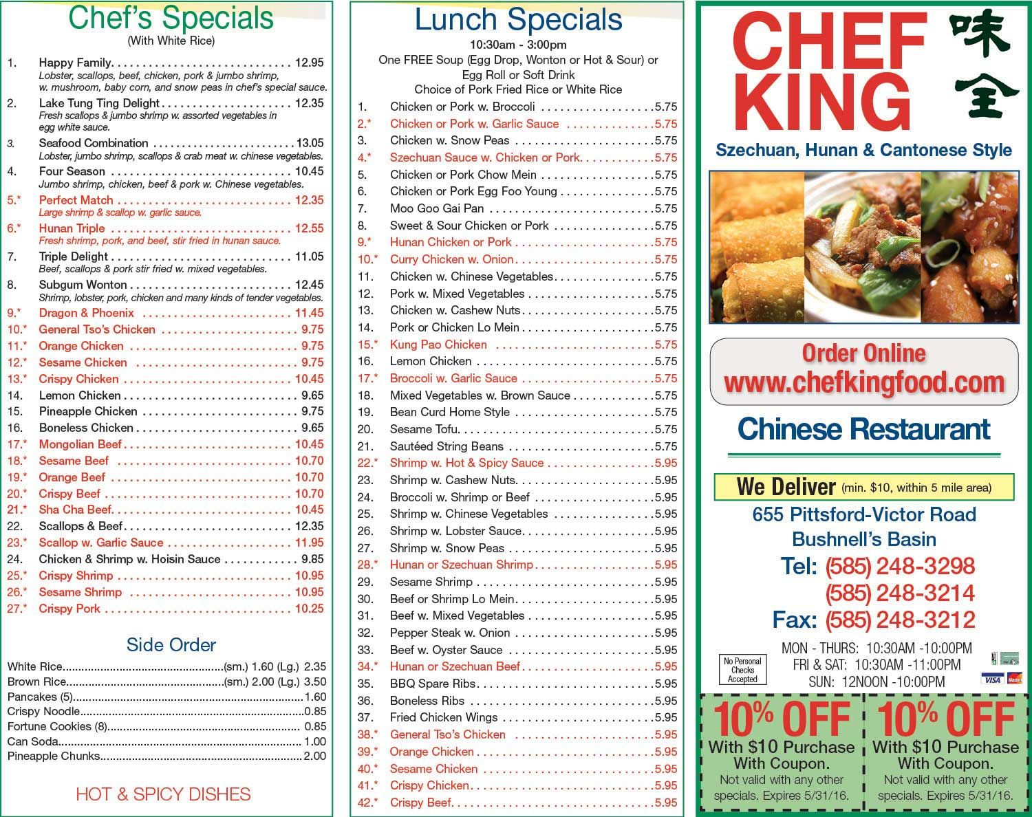 Chef King Dewey Ave Chinese Restaurant Save On Meal Rochester Ny Chefkinggreece Com Menu Asp Lunch Specials Garlic Sauce For Chicken Pork Fried Rice
