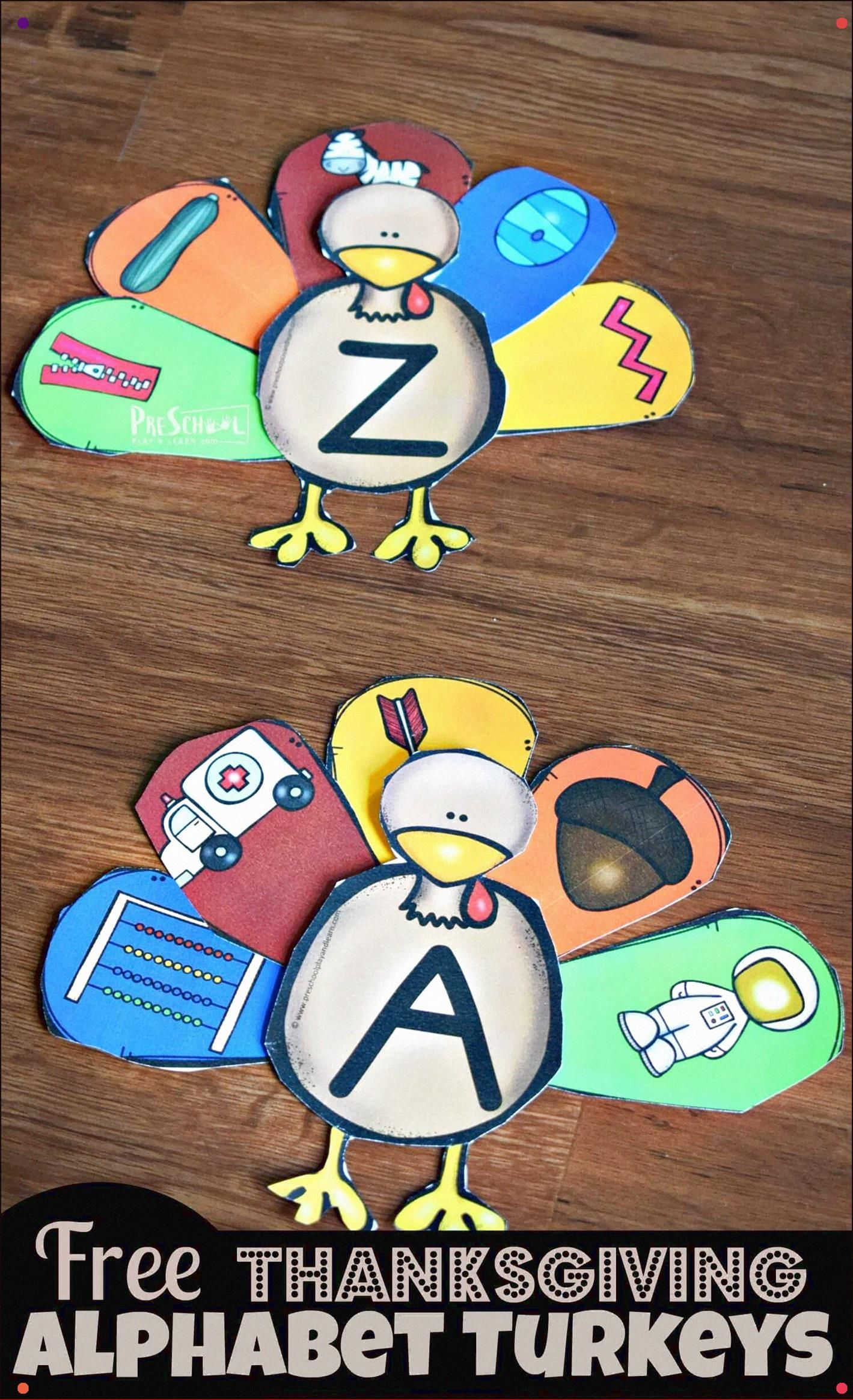 Free Thanksgiving Alphabet Turkeys