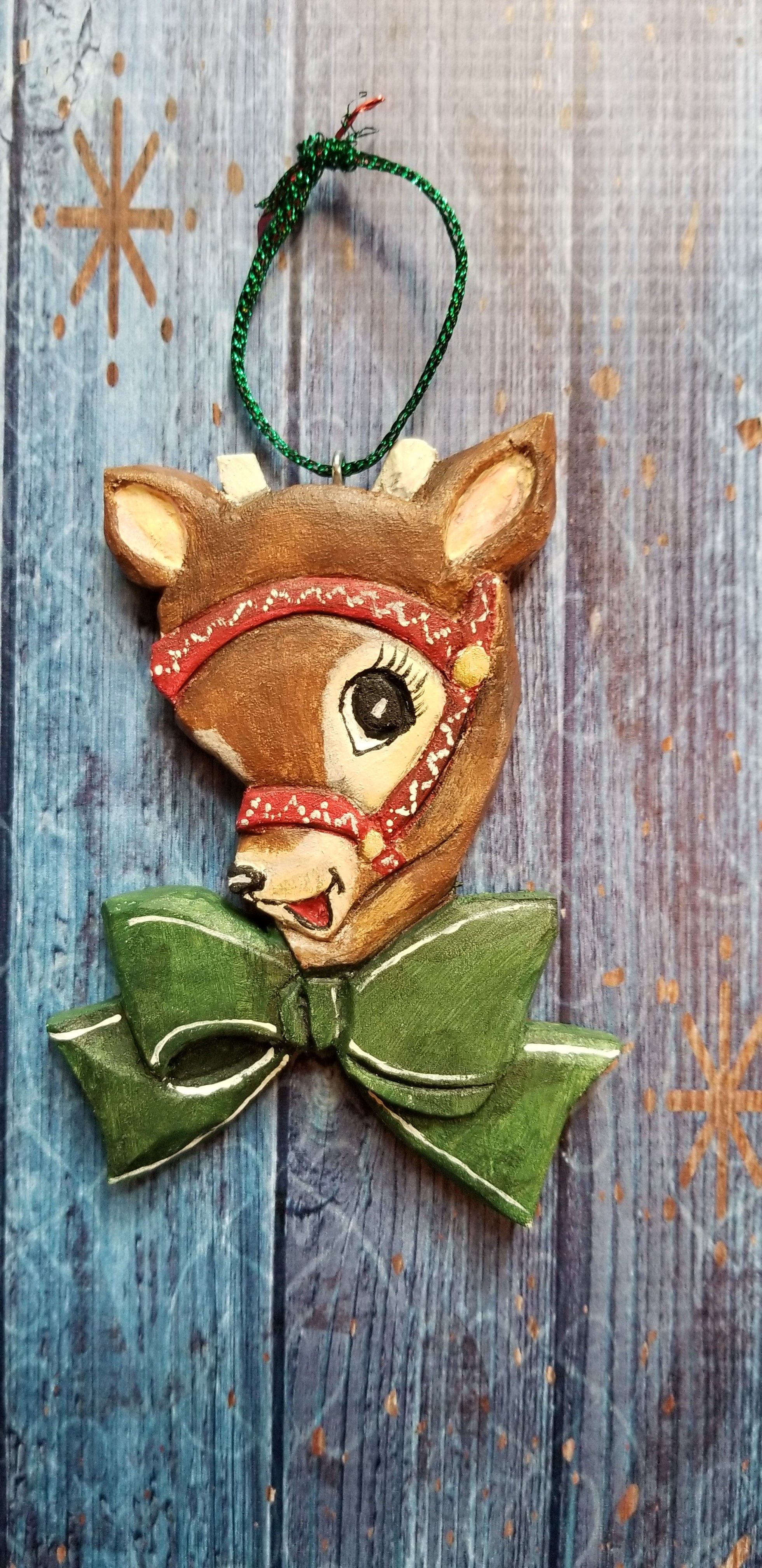 Sold Vintage Reindeer Ornament Hand Carved Wood Decoration Jill Motovidlak Vintage Christmas Ornaments Miniature Embroidery Folk Art Decor