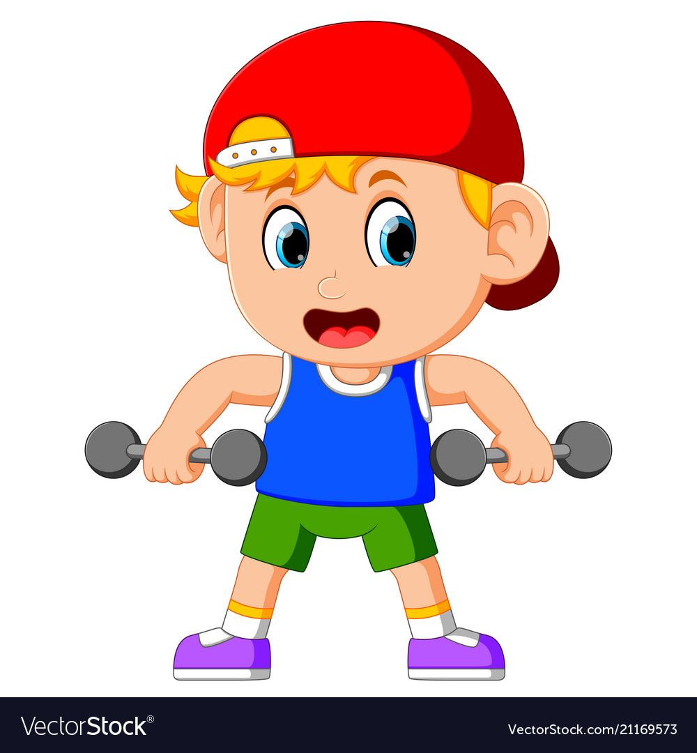 Illustration Of Young Boy Doing Weightlifting Download A Free Preview Or High Quality Adobe Illustrator Ai Eps P Exercise For Kids Kids Clipart Cartoon Kids