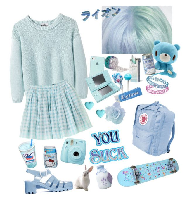 """""""Color theme part4"""" by lemoonlight ❤ liked on Polyvore featuring Topshop, Acne Studios, Nintendo, River Island, JuJu, Fuji, Cotton Candy, cute, Blue and kawaii"""