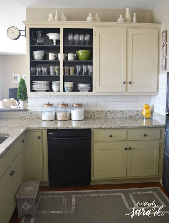 DIY Inexpensive Kitchen Update: Remove A Couple Cabinet Doors, Chalk  Painted Cabinets And Painted