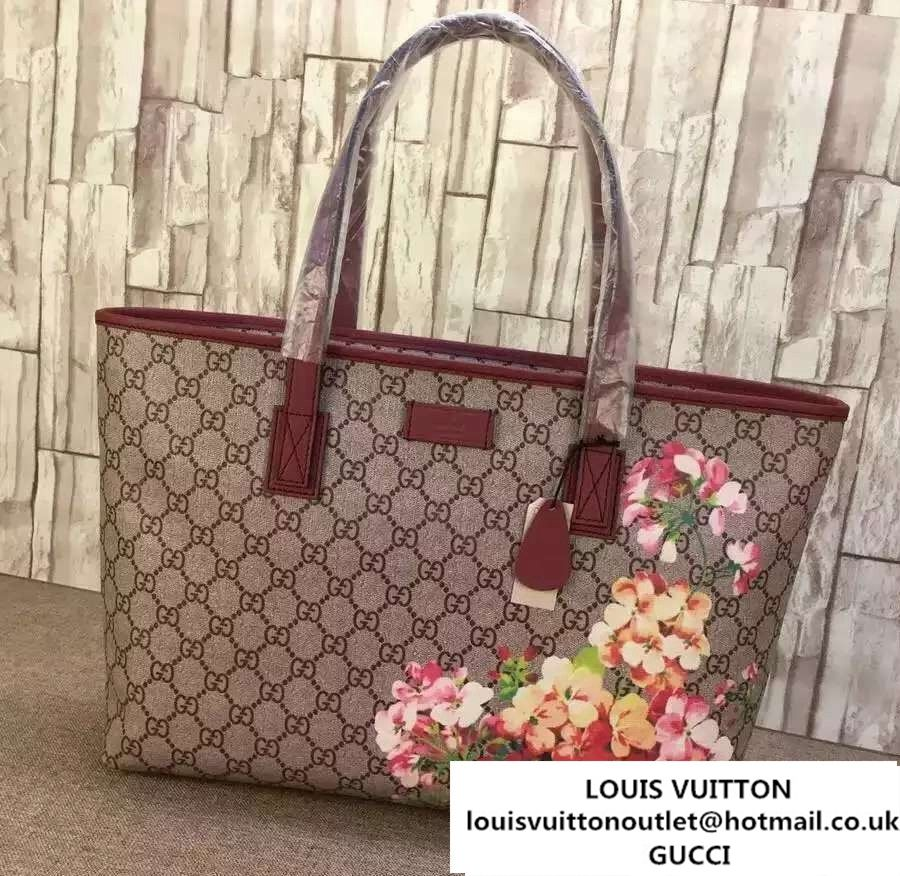 b1bcca9e6e9b Gucci GG Supreme Canvas Tote Bag 211137 Blooms Print Rose 2016 ...