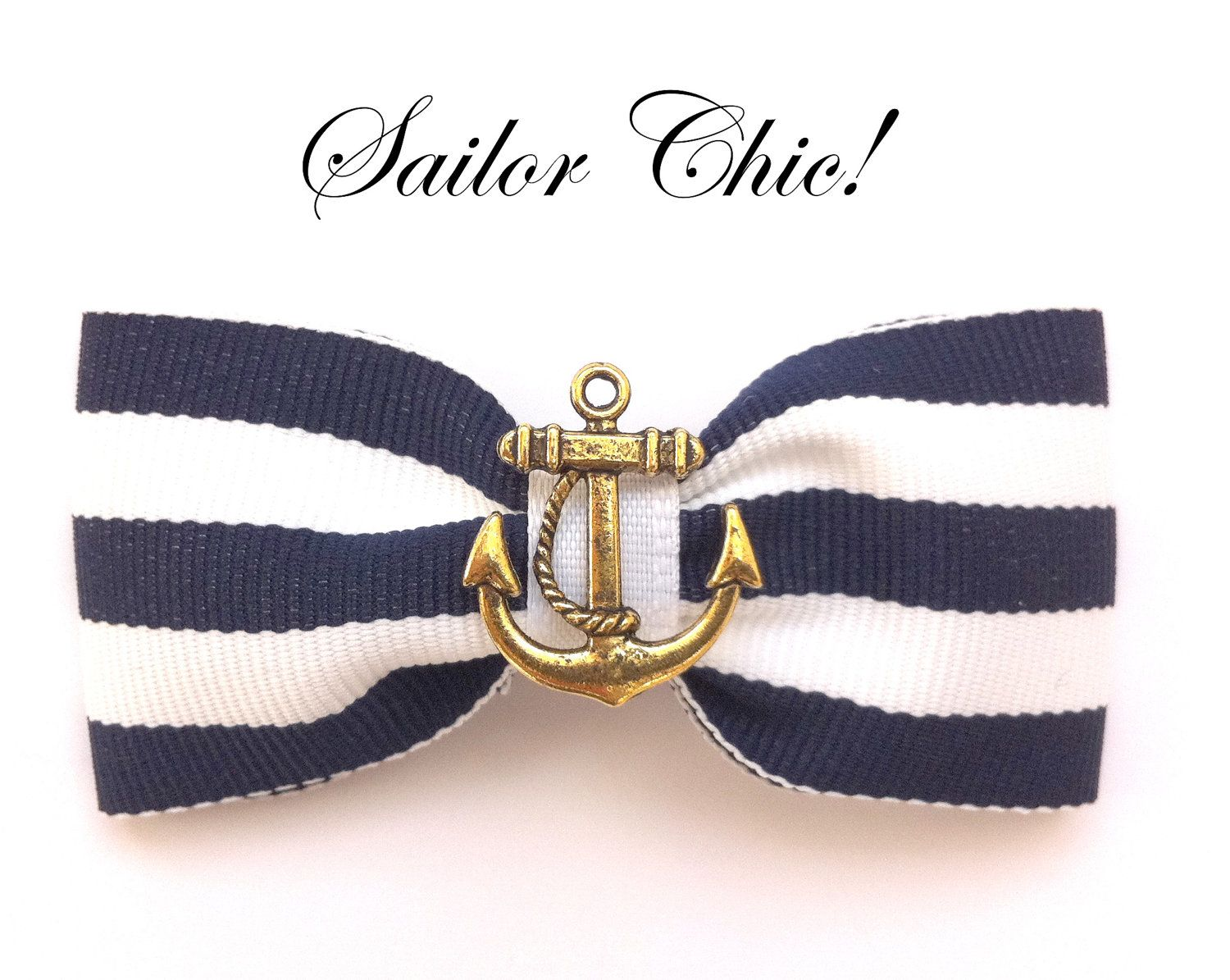 White with gold vintage anchor pin up sailor nautical hair bow
