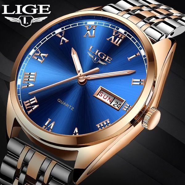 2019 LIGE New Rose Gold Women Watch Business Quartz Watch