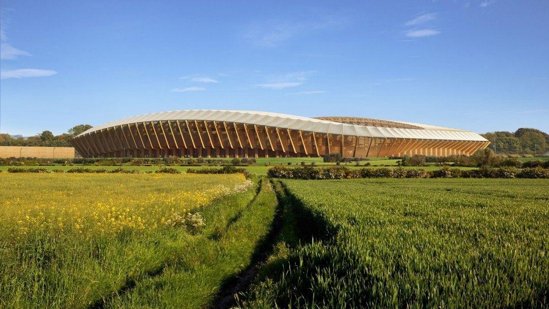 Projeto do primeiro estádio de futebol de madeira! Incrível!