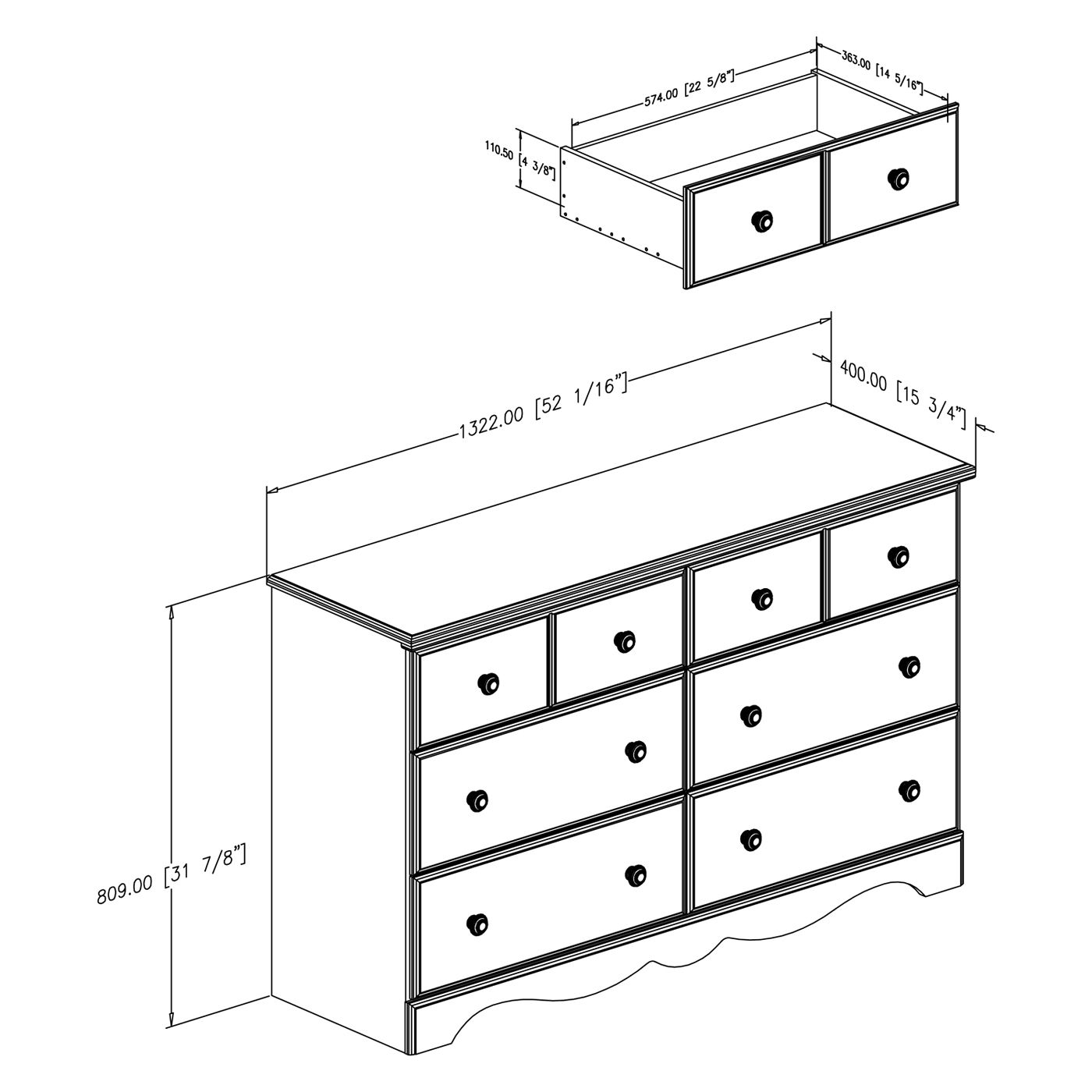 Dresser dimensions the image kid has it for Standard bedroom dimensions