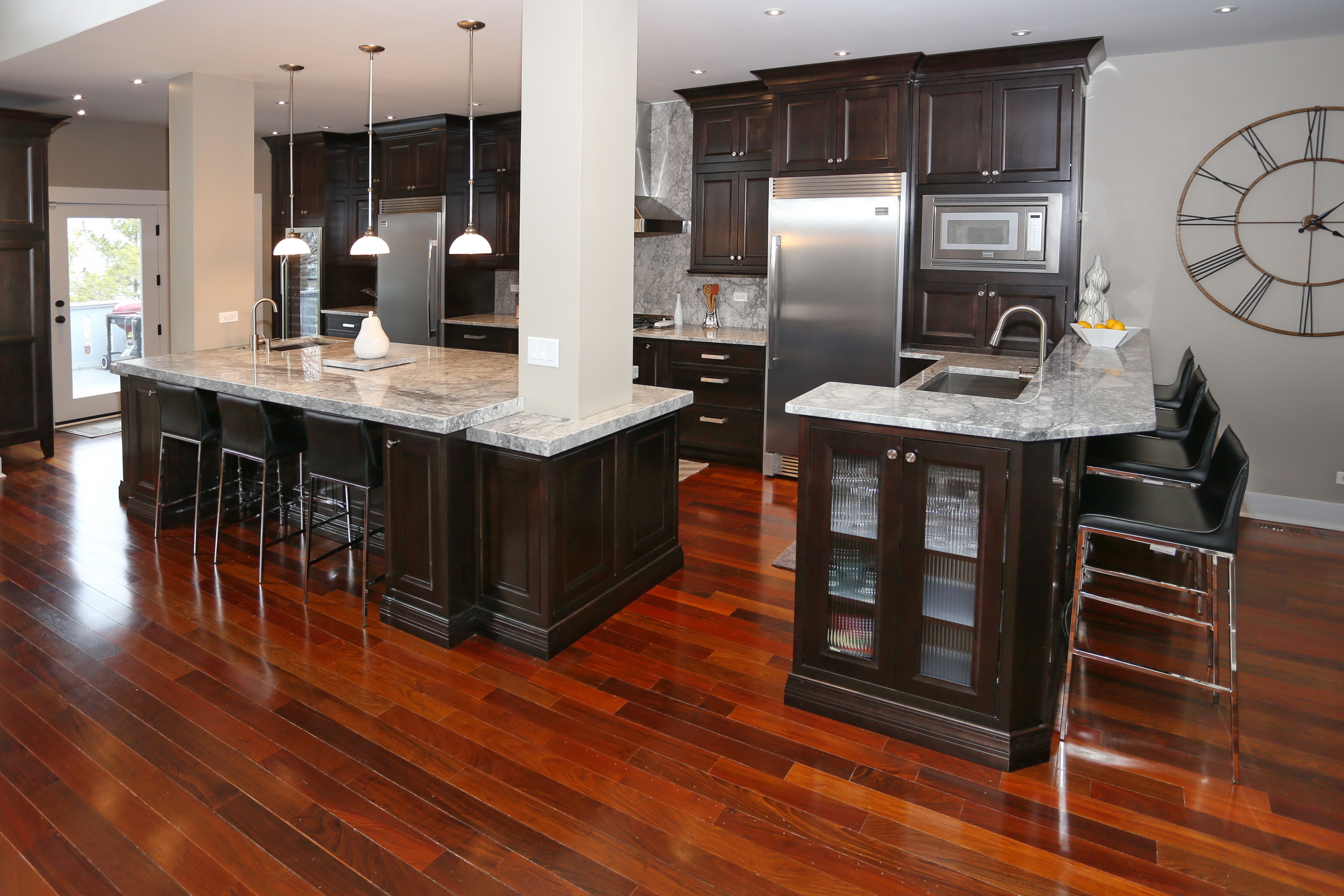 Decora Cabinets With Hucheson Beaded Inset Doors Cherry With Teaberry Finish Quartzite Super Wh Kitchen Design Kitchen Cabinets Brands Kitchen Cabinet Trends