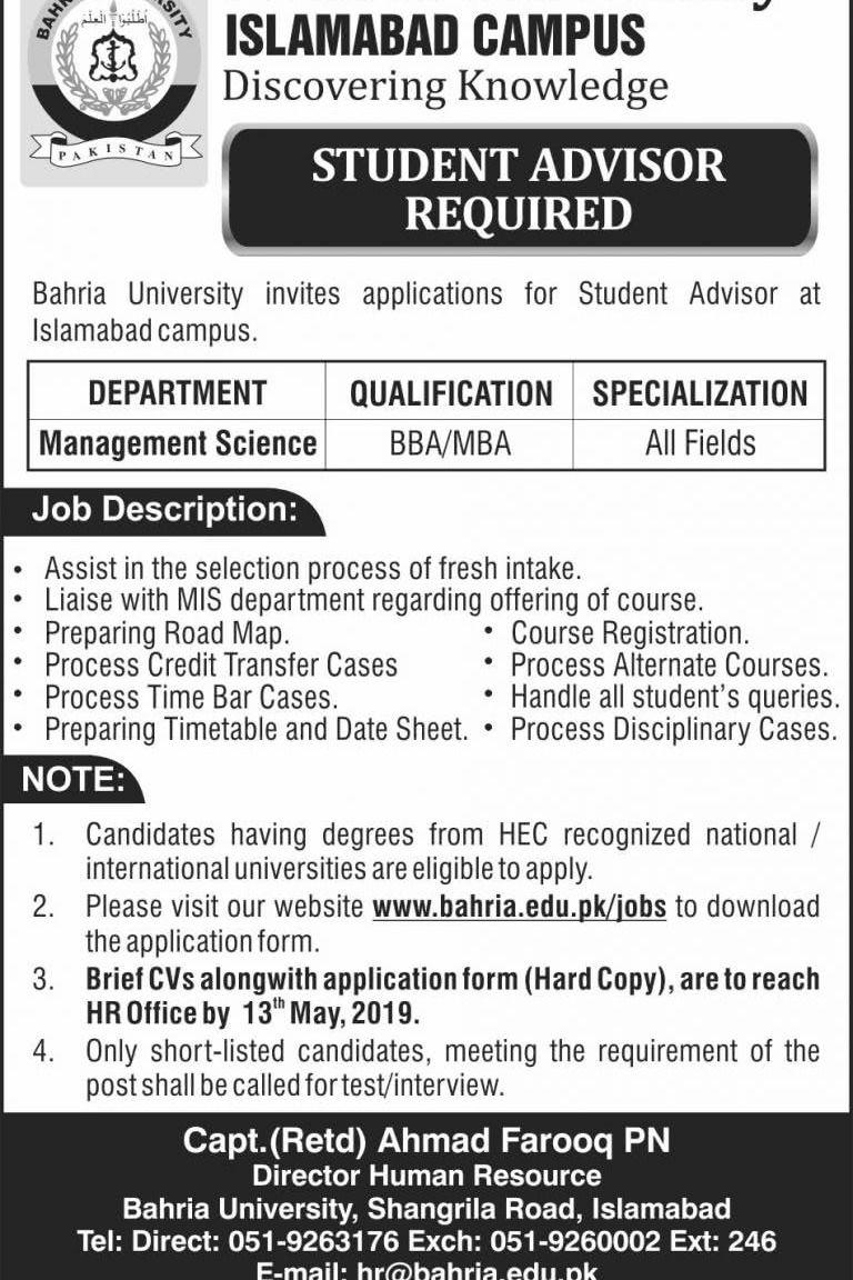 Bahria University Islamabad Latest Jobs 2019 Multiple