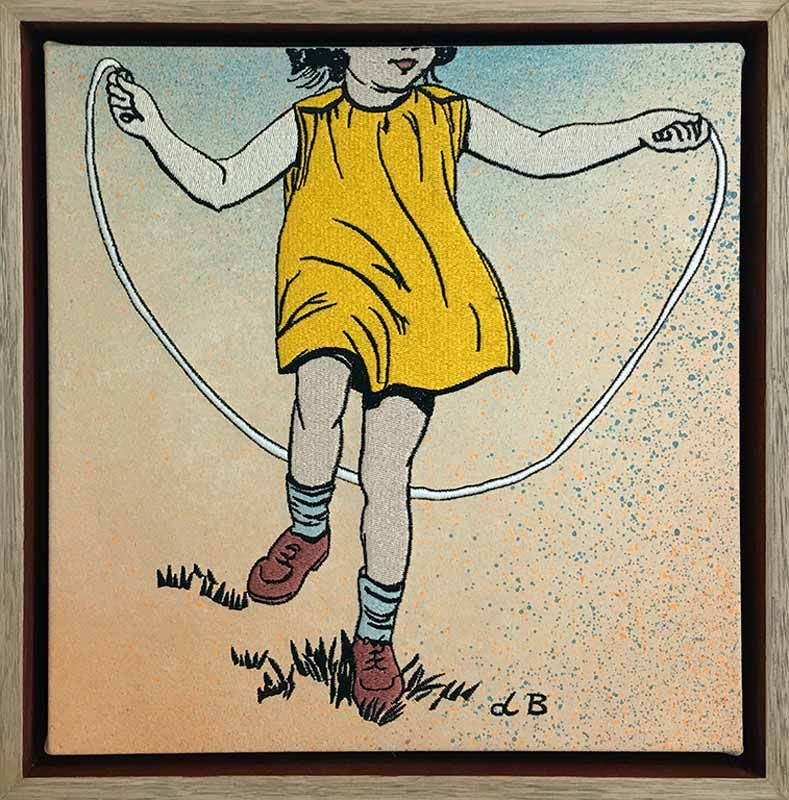 David Bromley Skipping Girl Embroidery Yellow Fine Art In
