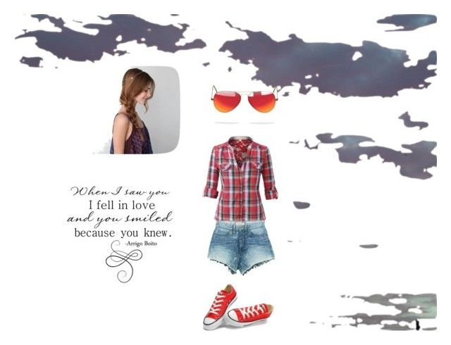 """""""untitled # 1"""" by gryffindorpride1 ❤ liked on Polyvore featuring American Eagle Outfitters, LE3NO, GUESS, Converse and Ray-Ban"""
