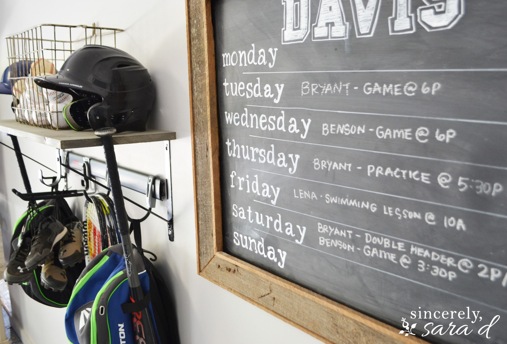 Love this chalkboard in the garage i need one to keep our sports